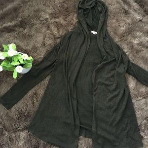 Dark military green long cardigan with hood